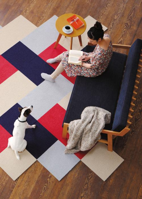 洋室を頭上から撮影した写真、赤や青、白、水色のパネルカーペットを組み合わせている。本を片手にソファーに座る女性と近くに犬がいる。