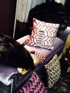 ソファーのまわりに様々なクッションが置かれている