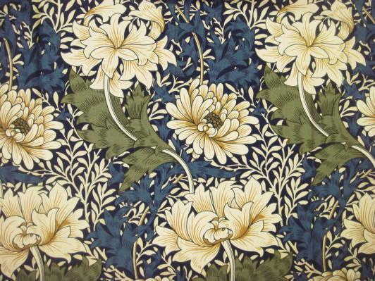 ウィリアム・モリスによるデザイン画像、2種の花と葉の形と色が全面に描かれており、その地に小さな葉模様が敷き詰められている