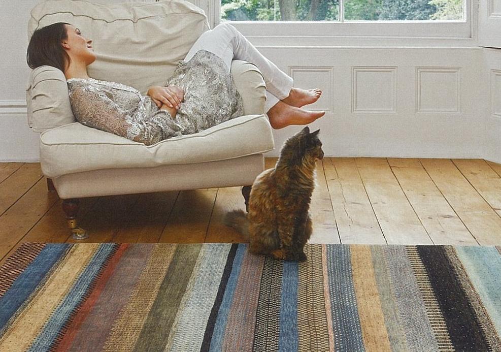 絨毯に座るネコ